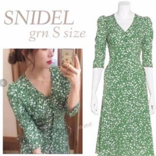 snidel - snidel フロントボタンプリントワンピース サイズ0 グリーン