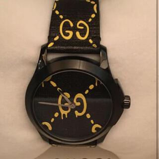 グッチ(Gucci)の美品 グッチ 時計 GUCCI ブラック イエロー G タイムレス ゴースト(腕時計(アナログ))