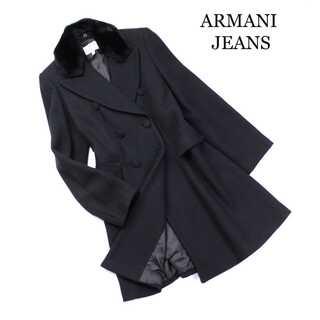アルマーニジーンズ(ARMANI JEANS)のアルマーニジーンズ★上質 バージンウール Aラインコート 黒 イタリア製  (ロングコート)