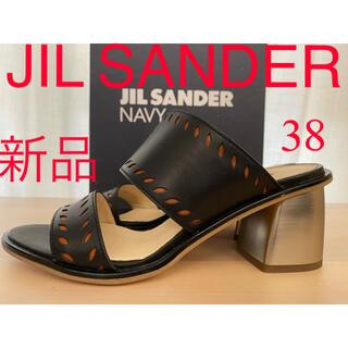 Jil Sander - 新品 ジルサンダー navy シルバーヒール レザーサンダル チャンキーヒール