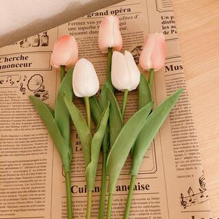 ピンク×ホワイト 母の日 5本セット チューリップ 海外 韓国インテリア(その他)