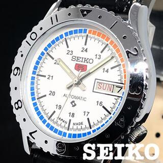 セイコー(SEIKO)の【激レア】SEIKO 5/メンズ腕時計/Vintage/ホワイト色/白/お洒落(腕時計(アナログ))