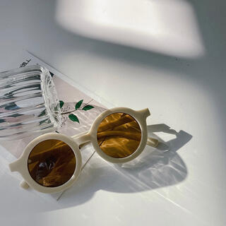 韓国子供服 サングラス グラサン お洒落 丸メガネ キッズ くすみカラー(サングラス)