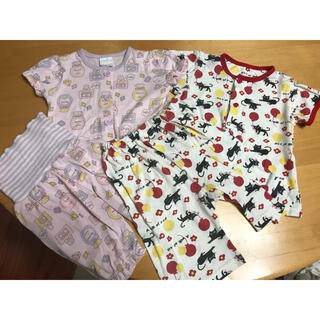 半袖パジャマ 腹巻き付き ボタン付き 前開きタイプ 上下セット2点(パジャマ)