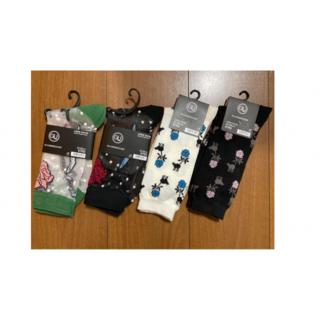 ジーユー(GU)のレディースソックス4組 グリーン/ブラック2/オフホワイト GU アンダーカバー(ソックス)