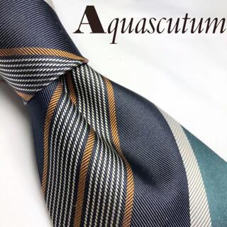 アクアスキュータム(AQUA SCUTUM)の[タグ付き未使用!]Aquascutum大人気レジメンタル極上シルク100%(ネクタイ)