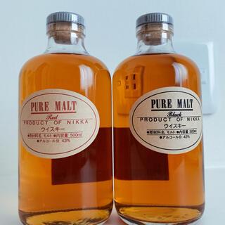 ニッカウイスキー(ニッカウヰスキー)の蒸溜所限定ピュアモルトレッド&ブラック2本セット(ウイスキー)