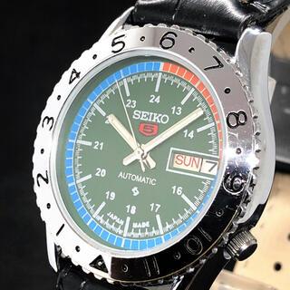 セイコー(SEIKO)の【激レア】SEIKO 5/メンズ腕時計/Vintage/グリーン色/緑/お洒落(腕時計(アナログ))