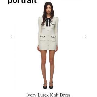 セルフポートレイト(SELF PORTRAIT)のセルフポートレート Ivory Lurex Knit Dress(ミニワンピース)
