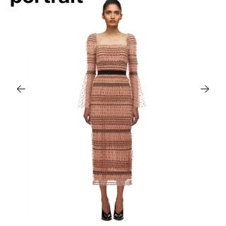 セルフポートレイト(SELF PORTRAIT)のセルフポートレート Shirred Polka Dot Midi Dress(ロングワンピース/マキシワンピース)