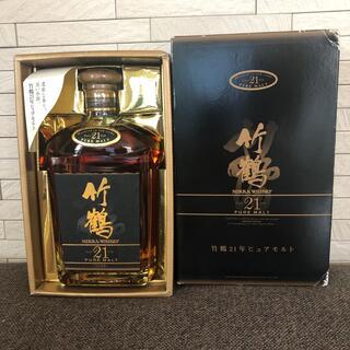 ニッカウイスキー(ニッカウヰスキー)の竹鶴21年 ピュアモルト ウイスキー 旧ボトル 箱付き(ウイスキー)