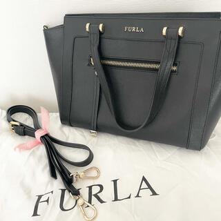 Furla - 【美品】FURLAハンドバック/ショルダーバッグ/ブラック《保存袋付き》