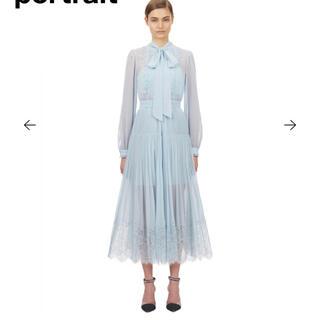 セルフポートレイト(SELF PORTRAIT)のセルフポートレートPale Blue Chiffon Trimmed Dress(ロングワンピース/マキシワンピース)