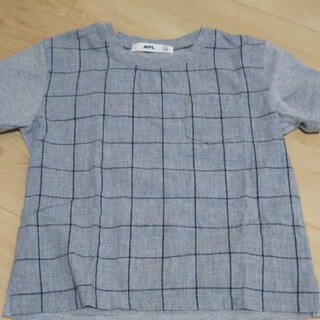 エムピーエス(MPS)の数回使用美品★MPS グレーのチェック柄のTシャツ サイズ110(Tシャツ/カットソー)