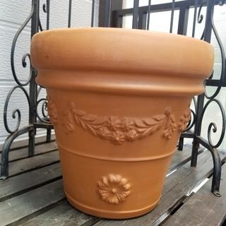 ㉩型MADE IN ITALY風月桂樹の葉とマーガレット素焼きテラコッタ鉢゚・*(プランター)