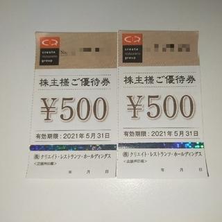 1000円分 クリエイト・レストランツ・ホールディングス 株主優待券(レストラン/食事券)