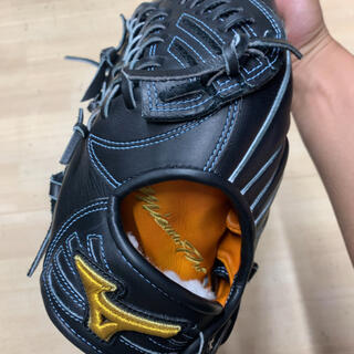 MIZUNO - ミズノ 軟式グラブ ミズノプロ 左投げ 左利き 外野手 外野 ブラック 中古