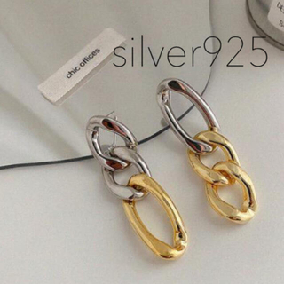ビームス(BEAMS)の【silver925】シルバー×gold バイカラーチェーンピアス(ピアス)