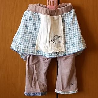 エプロン風スパッツ付きスカート80㎝&ミキハウス デニム風パンツ90cm(スカート)