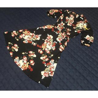 インゲボルグ(INGEBORG)のインゲボルグピンクハウスカネコイサオデザインワンピース花柄黒日本製(ロングワンピース/マキシワンピース)