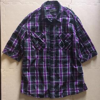 ユーピーレノマ(U.P renoma)のユーピー レノマ シャツ チェック模様 パープル 胸ポケット有り(シャツ)