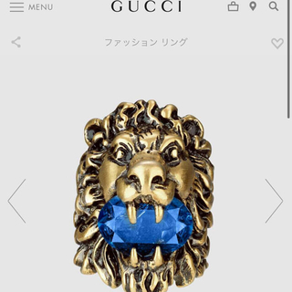 Gucci - gucciグッチブルー クリスタル付き ライオンヘッド リング13