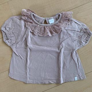 futafuta - ●tête-à-tête●Tシャツ レース襟×くすみピンク 95センチ