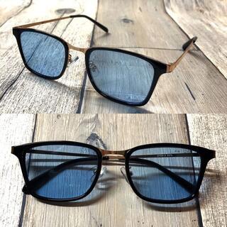 高級 ブラックゴールド/ライトブルー ウェリントン サングラス ボストン 眼鏡