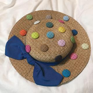 カシラ(CA4LA)の【バラ色の帽子】水玉ストローハット(麦わら帽子/ストローハット)