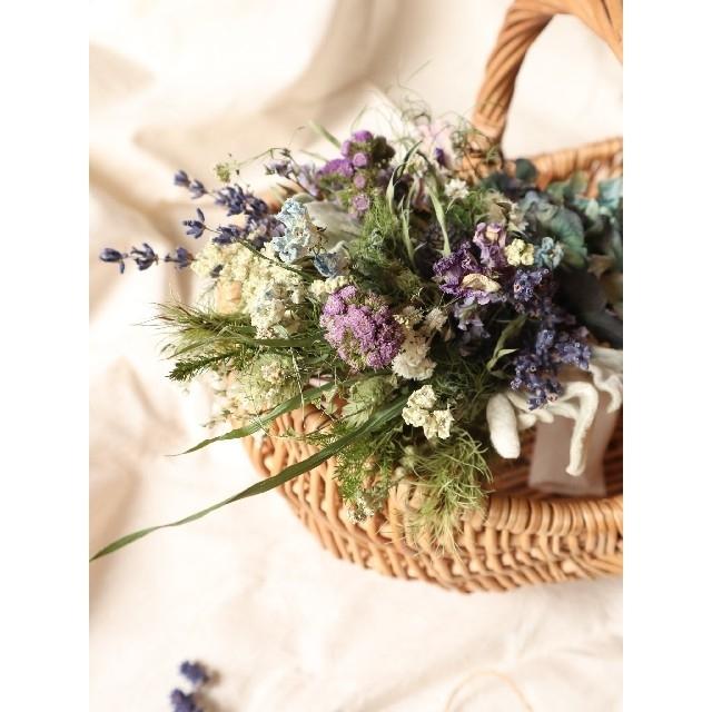 初夏。ラベンダー薫るアンティーク紫陽花スワッグ。ドライフラワースワッグ。母の日 ハンドメイドのフラワー/ガーデン(ドライフラワー)の商品写真
