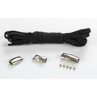 靴紐 ブラック 結ばない伸縮性靴ひもくつひも ゴム金属強い磁気ホックロック(シューズ)