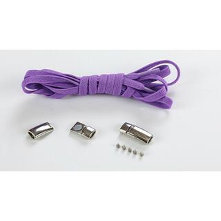 靴紐 紫 結ばない伸縮性靴ひもくつひも ゴム金属強い磁気ホックロック(シューズ)