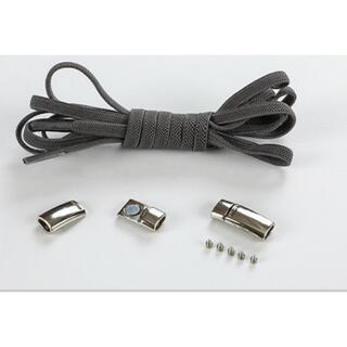 靴紐 灰 結ばない伸縮性靴ひもくつひも ゴム金属強い磁気ホックロック(シューズ)