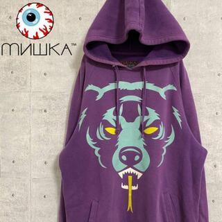 ミシカ(MISHKA)のミシカ MISHKA USA製 デカロゴ パーカー 紫 裏起毛 M(パーカー)