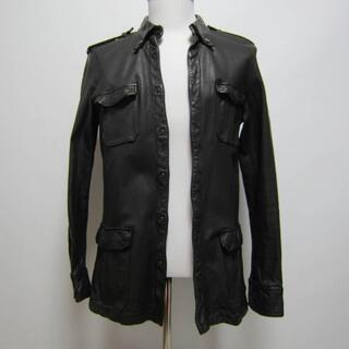 イサムカタヤマバックラッシュ(ISAMUKATAYAMA BACKLASH)のイサムカタヤマ バックラッシュ キップ レザー シャツ ジャケット ブラック L(レザージャケット)