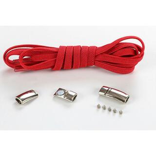 靴紐 赤 結ばない伸縮性靴ひもくつひも ゴム金属強い磁気ホックロック(シューズ)