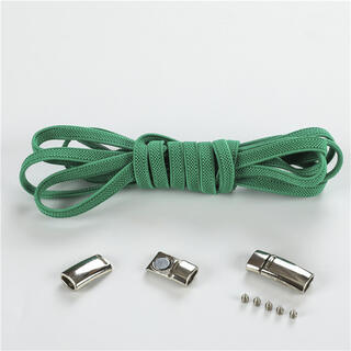 靴紐 緑 結ばない伸縮性靴ひもくつひも ゴム金属強い磁気ホックロック(シューズ)