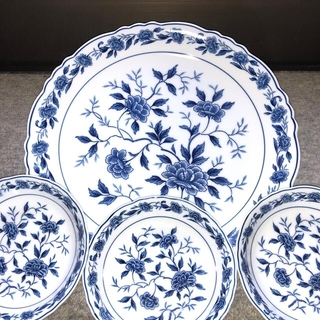 【新品・未使用】ファインチャイナ BLUE CHATHAM 大皿1枚・取り皿5枚(食器)