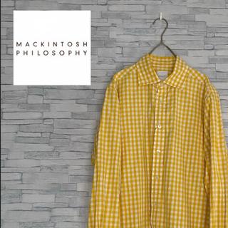 マッキントッシュフィロソフィー(MACKINTOSH PHILOSOPHY)のマッキントッシュフィロソフィー メンズM 黄色チェックシャツ(シャツ)