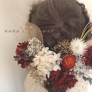 ヘッドドレス RED&White 髪飾り 結婚式 成人式 ドレス 着物 ヘアピン