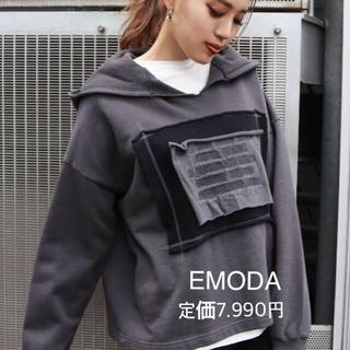 EMODA - Vネック刺繍ロゴフーディ EMODA 新品タグ付き 定価7.990円