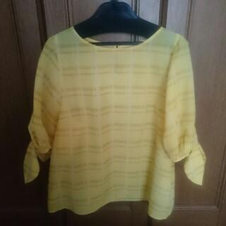 クチュールブローチ(Couture Brooch)のクチュールブローチ☆シアーチェックブラウス☆黄色LL(シャツ/ブラウス(半袖/袖なし))