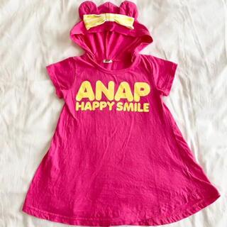 アナップキッズ(ANAP Kids)のアナップキッズ くま耳フード半袖チュニック 100(Tシャツ/カットソー)