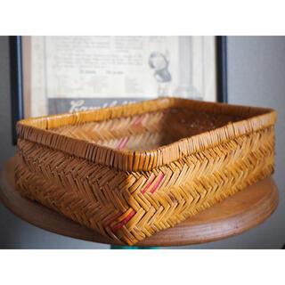 竹かご 竹編 籠 バスケット昭和レトロ 古民具 小物入れ 伝統工芸品 ビンテージ(バスケット/かご)