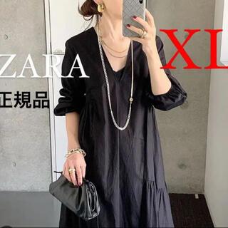ZARA - 新品 ZARA  ザラ パフスリーブ付きポプリンワンピース XL