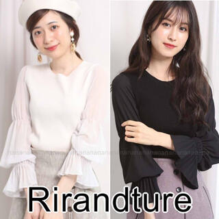 Rirandture - 新品 リランドチュール 袖口プリーツ プルオーバー シースルー 黒