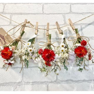 ドライフラワー スワッグ ガーランド❁243母の日ギフト♪赤 真紅 白 花束