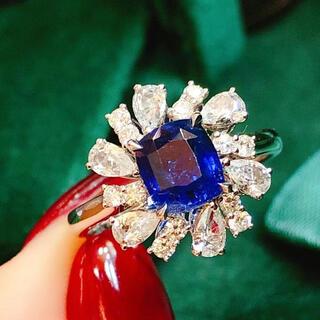 天然非加熱ロイヤルブルーサファイア ダイヤ リング1.68ct k18¥(リング(指輪))