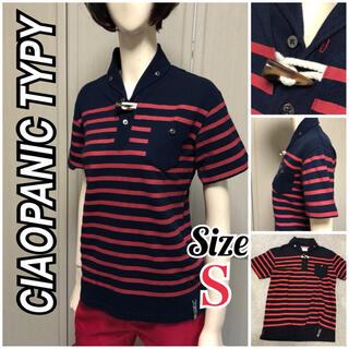 チャオパニックティピー(CIAOPANIC TYPY)のゴルフウェアに!チャオパニックティピー 可愛いネイビーと赤のボーダーポロシャツ(ポロシャツ)