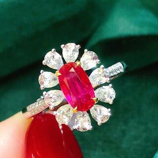 天然 ルビー ダイヤモンド リング 約1.07ct k18 ¥(リング(指輪))